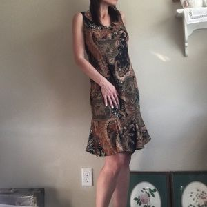 90's Gorgeous Rust Paisley Frill Dress